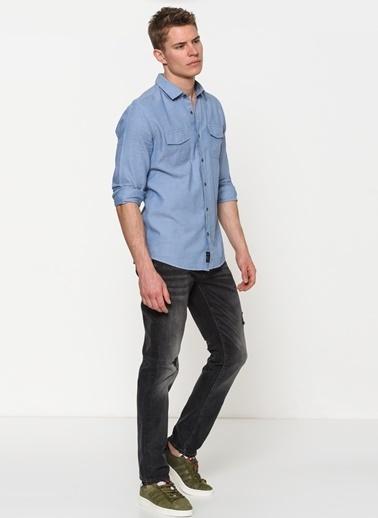 Uzun Kollu Cep Detaylı Gömlek-Mavi